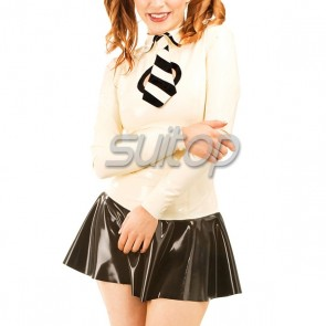 Lovely rubber latex uniform and mini dress with tie in white color for school girl