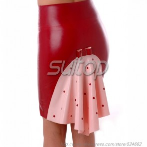 Casual rubber latex tight skirt without zip main in red color for lady