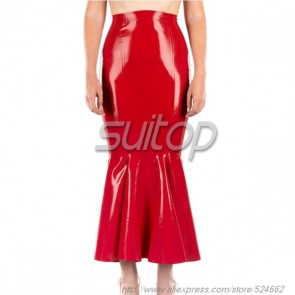 Suitop rubber latex long pleated skirt in red color for women