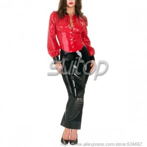 Suitop super quality rubber latex long tight splited skirt in black color for women