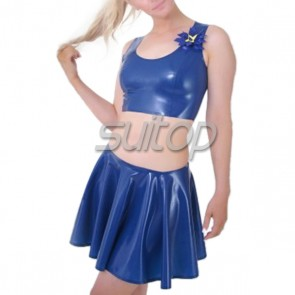 Suitop casual rubber latex ultra short mini skirt in blue color for women