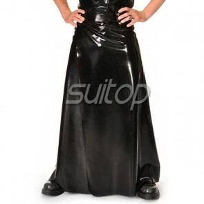 Suitop fashional rubber latex men's male's long skirt only in black color