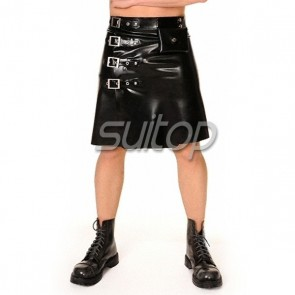 Suitop fashional rubber latex men's male's short skirt to knee only in black color