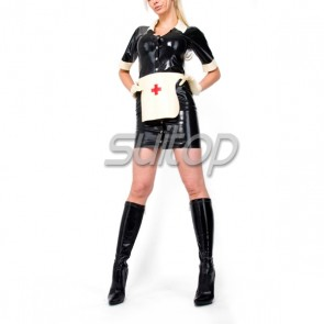 Suitop women's rubber latex nurse uniform dress attached apron with front buttons main in black color