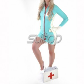 Suitop women's rubber latex long sleeve nurse uniform tight dress attached zip with gloves main in sky blue color