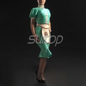 Suitop women's rubber latex short sleeve uniform dress with cap and apron in green color