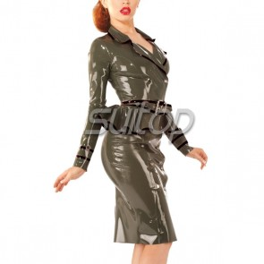 Suitop women's sexy rubber latex military uniform including blouses and skirt in army green color