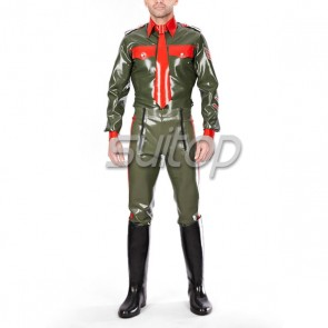 Men police latex costumes uniforms including military shirt and pants customised
