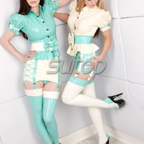 Suitop hot selling women's rubber latex whole set including blouses+mini skirt+long stockings