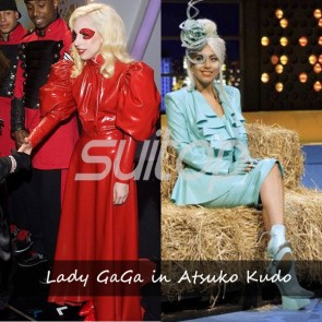 Suitop hot selling same styl rubber latex lady gaga in Atsuko Kudo hollywood uniform dress