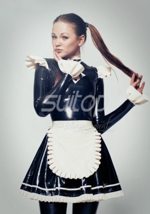 Sexy black latex maid uniform rubber dress fetish clothes