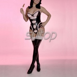 Women latex rubber long stocking in black color