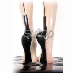 Suitop rubber latex sexy long stockings in transparent color for women