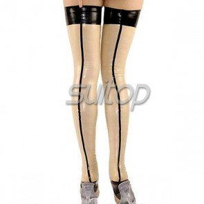 Women latex rubber long stockings in transparent color