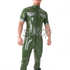 handmade latex uniform party catsuit policy out-fit with front zip through crotch