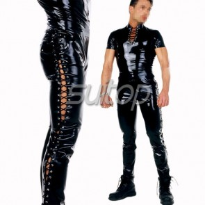 Suitop men's rubber latex whole set includes tops and pants in black color