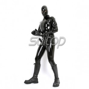 Suitop hot selling men's rubber latex full cover zentai catsuit wit penies condoms for adult exotic in black color