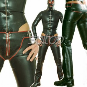 Suitop novelty men's rubber latex whole set including body & leotard,pants, hoods and neck belts in black color