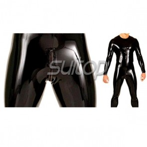 Suitop men's high quality 0.4mm heavy rubber latex catsuit neck entry with crotch zip in black color