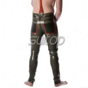 Sexy Men's latex rubber jeans Casual trousers in trasparent green