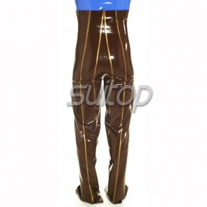 Men's Rubber latex legging with high waist  with front button in brown and gold trim