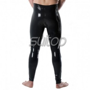 Suitop men's sexy rubber latex leggings with crotch zipper in black color
