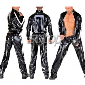 Suitop hot selling man's rubber latex uniform including sport jacket and sport trousers in black color