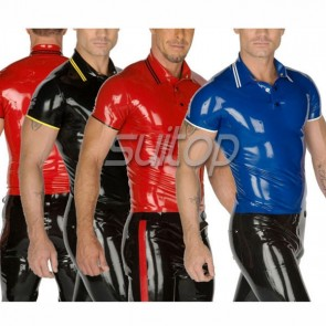 Suitop men's casual rubber latex polo shirt in blue/red/black color