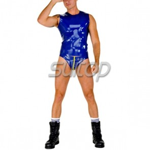 Suitop hot selling rubber latex men's male's vest tops and briefs in blue color