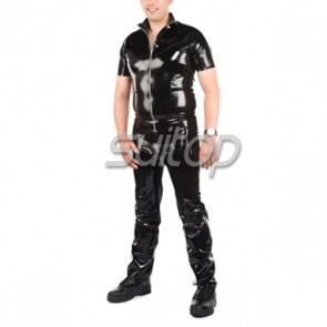 Suitop hot selling man's rubber latex uniform including top and jeans in black color