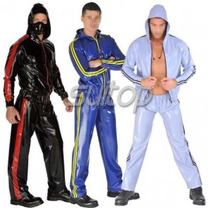 Suitop hot selling men's rubber latex uniform including sport sweater and sports trouser