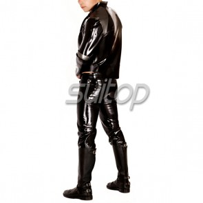 Suitop men's casual rubber latex jeans in black color