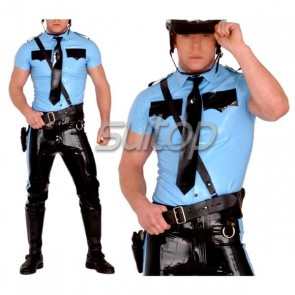 Police man rubber uniforms latex costumes military set not including belt SUITOP customised