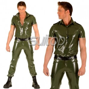 Police man rubber uniforms latex costumes military set not including belt customised