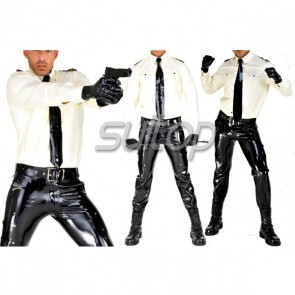 Police man rubber uniforms latex costumes military sets not including belt SUITOP customised zentai for man cosplay sir