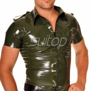 Suitop pure handmade mens' rubber latex coat in army green color