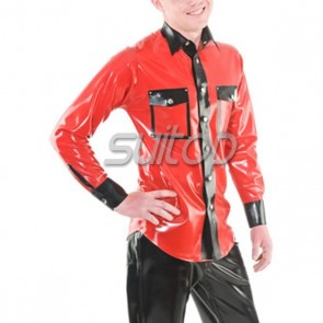 Man's 100% natural rubber latex long sleeve shirt with buttons in red color