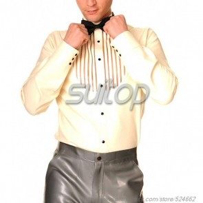 Suitop new item men's rubber latex long sleeve shirt with front zip in white color