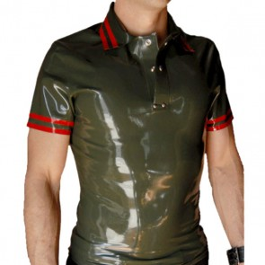 Men 's casual latex T-shirt Rubber Tee shirts top in olive green