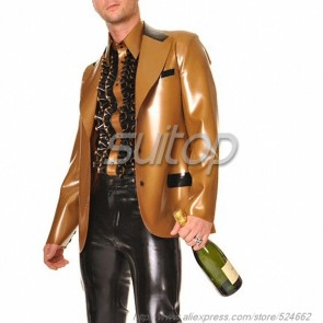 Suitop pure handmade mens' rubber latex blazer in gold color