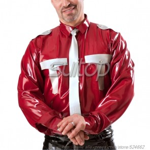 Men police Red latex costumes uniforms military shirt customised