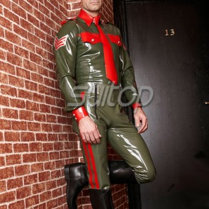 Fashional rubber latex long sleeve shirt with front buttons in green color for man