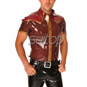 Man's pure handmade rubber latex tigh short sleeve shirt with front zip in wine color