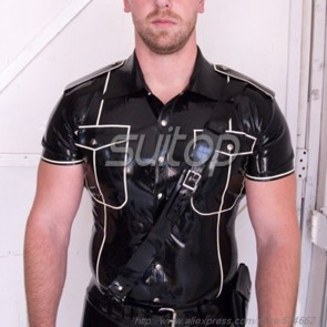 Men police latex military shirt customised