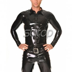 Suitop high quality men's rubber latex tight jacket with front zipper in black color