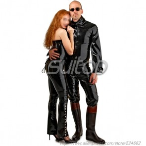 Suitop men's rubber latex long sleeve tops with front zip in black color