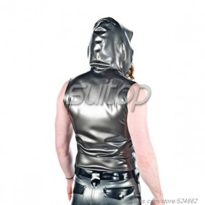 Suitop men's rubber latex sleeveless sweater with cap in metallic gray color