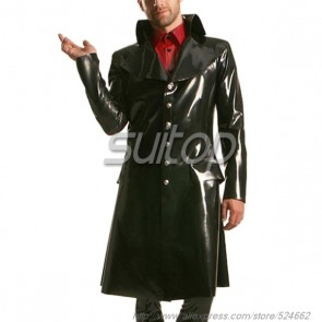 Suitop new item men's rubber latex long jacket with single breasted in black color