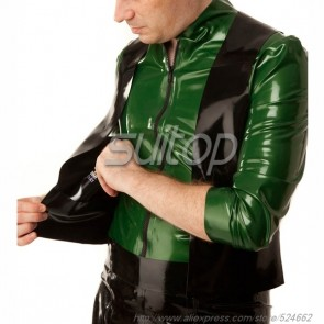 Suitop new item men's rubber latex whole set including green tight tops and black waistcoat