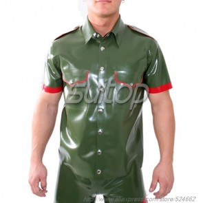 Men police latex uniforms military shirt customised